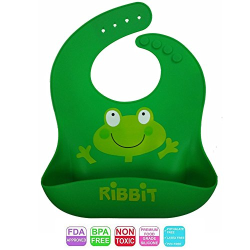 Premium Silicone Bib with Big Pocket Food Catcher for Babies and Toddlers -FDA approved, BPA/LEAD/PVC Free, Unisex Design, Waterproof, Stain Resistant, Easy Clean, Cute Baby Shower Gift!