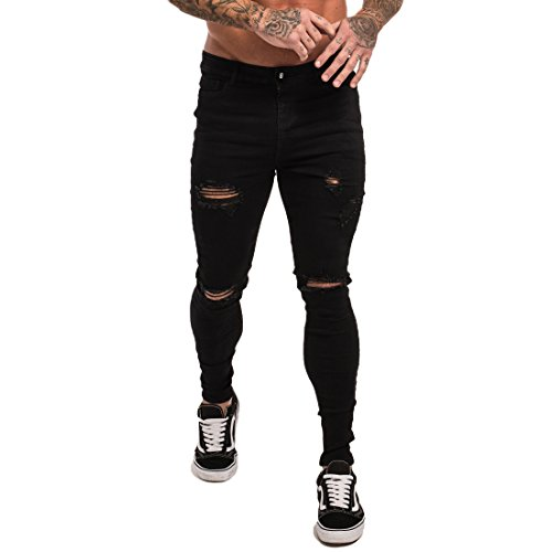 Skinny Tights - Gingtto Skinny Jeans Men Stretch Slim Fit Ripped Distressed 34 Black Ripped
