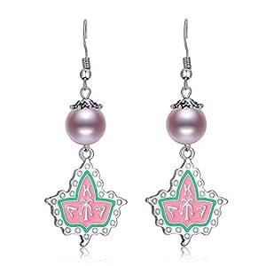 Sliver Pearl Dangle Earrings for Women AKA Sorority Gifts Alpha Kappa Alpha Paraphernalia