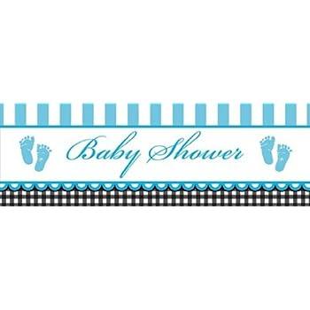 Amazon Giant Baby Shower Banner Sweet Baby Feet Blue Kitchen
