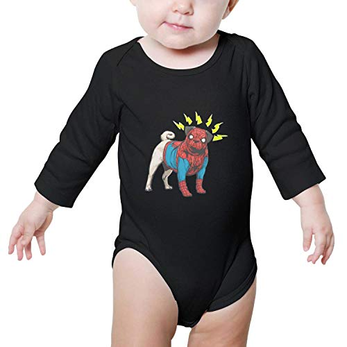 OEEIMG Pug Dog Cosplay Superhero Long Sleeve Neutral Baby Onesies Outfits Funny for Infant Boys Girls -