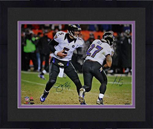(Framed Joe Flacco & Ray Rice Dual Signed Handoff 16x20 Photograph - Steiner Sports Certified - Autographed NFL Photos )