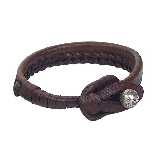 NOVICA Woven Leather Wristband Bracelet, with .950 Silver Bell, 7'', Asian Chic' by NOVICA
