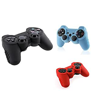 Insten Red Black & Light Blue Silicone Skin Case Combo Compatible With PS3 Controller