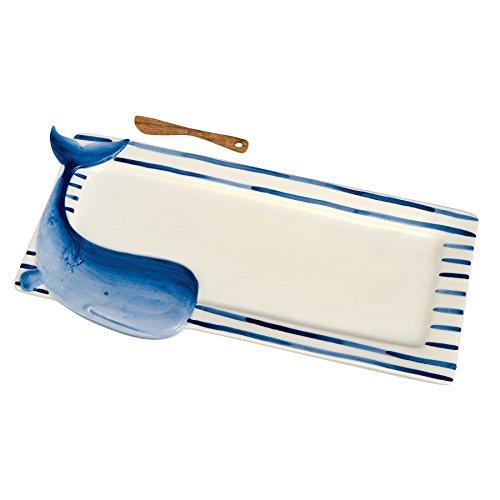 Mud Pie 4075087W Whale Tray Hostess Set, Blue