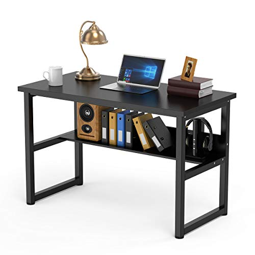 Computer Desk with Bookshelf Office Desk Writing Workstation 2 in 1 Desk and Bookcase PC Laptop Study Table for Home Office (47 Black)