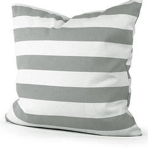 TAOSON Home Decorative Cotton Canvas Square Deep Gray Stripe Toss Pillowcase Cushion Cover Pillow Case with Hidden Zipper Closure Only Cover No Insert - 20