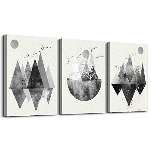 Black and white Abstract canvas Wall Art for living room Canvas Prints Artwork bathroom Wall Decor Abstract Mountain geometric Watercolor painting 3 Pieces Framed bedroom wall decorations Home Decor