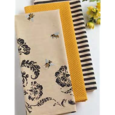 DII Set of 3 Busy Bee Kitchen Dishtowels with Petite Stripe