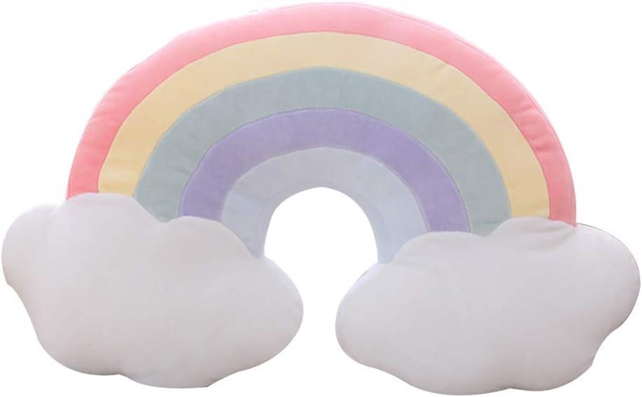 VOSAREA 1pc Rainbow en Forma de Felpa Sherpa Almohada Decorativa con Nubes Almohada Suave cojín hogar sofá decoración para niños Adultos (Arco Iris Rojo)