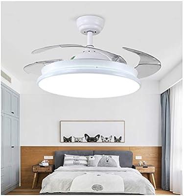 Shirley Home Araña 42 Pulgadas Ventiladores de Techo con luz Retráctil LED Ventilador de Techo 4 aspas Moderna lámpara de Techo Blanca con Control Remoto Lámparas de araña Iluminación de Techo: Amazon.es: