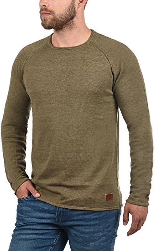 Blend John męski sweter z dzianiny, delikatny sweter z okrągłym wycięciem pod szyją: Odzież