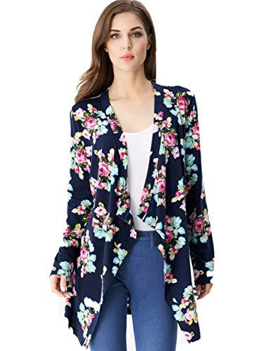 Aphratti Womens Long Sleeve Boho Wrap Kimono Irregular Cardigans Casual Cover Up Navy X-Large (Jersey Kimono)