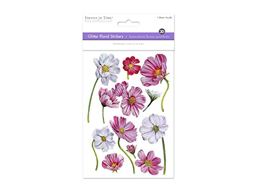 Multicraft Imports SS856-F Glitter Foil Magnolias Stickers Sheet, 5