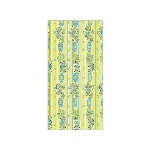 Decorative Privacy Window Film/Blooming Ornate Flower Motifs Vertical Stripes Dots Decorative/No-Glue Self Static Cling for Home Bedroom Bathroom Kitchen Office Decor Pistachio Green Sky Blue Mustard