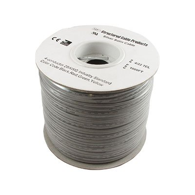 (BULK FLAT SILVER SATIN CABLE- 4 CONDUCTORS (BK. GN, RD, YL) / 28 AWG STRANDED, PVC JKT - 1000 FT SPOOL Distributed by NAC Wire and Cables)
