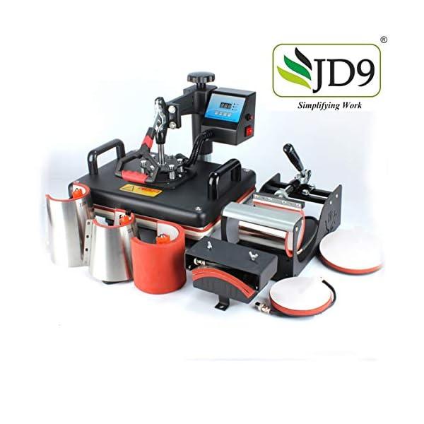JD9 Heat Press 8 in 1 Digital Multi Functional Sublimation Machine for T Shirt, Conical Mug, Tea Mug, Cap, Plate Heat Press Machine 12 X 15 Inch