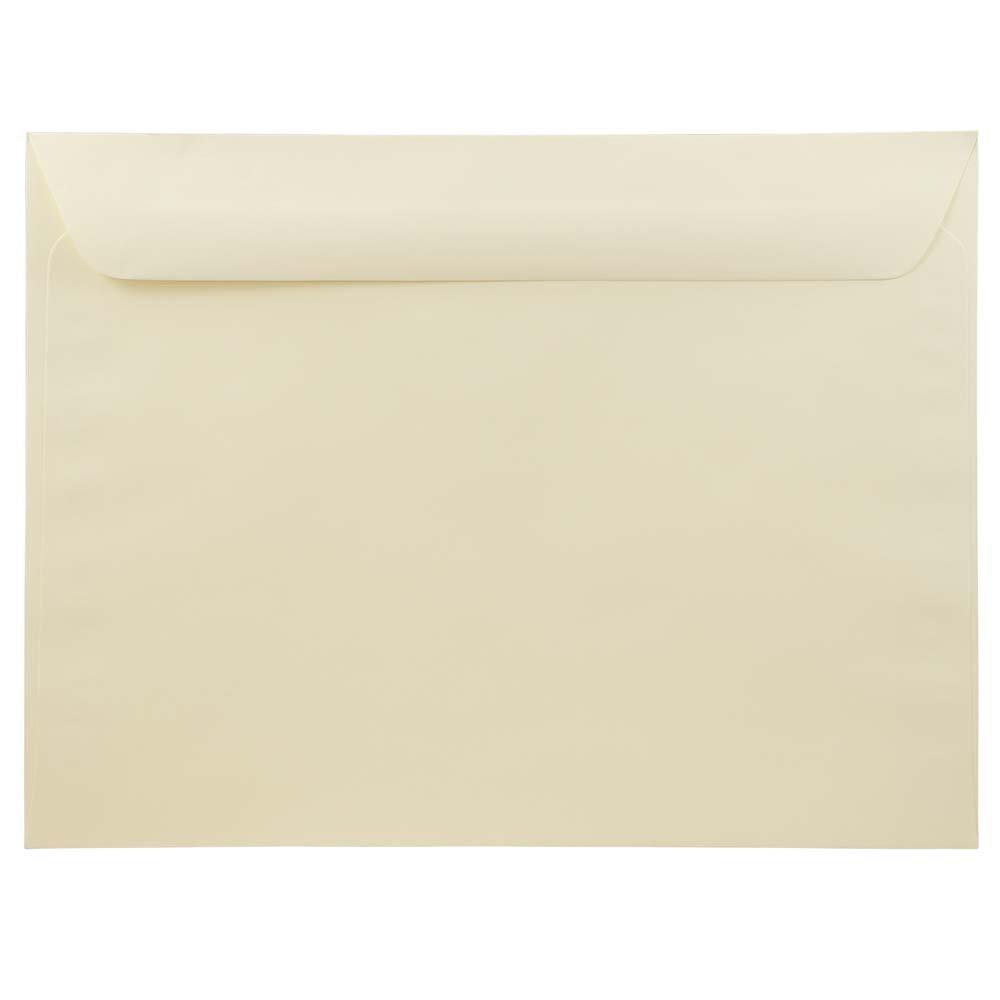 JAM Paper 9 1/2'' x 12 3/8'' Booklet Envelopes - Ivory Linen -25/pack