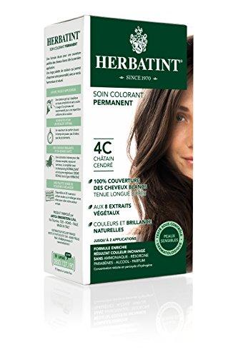 Herbatint Permanent Herbal Haircolor Gel, 4C Ash Chestnut, 4 Ounce Ash Liquid Hair Color