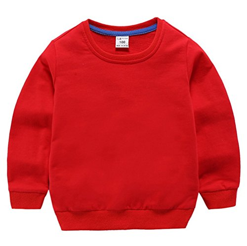 (Fairy Baby Little Boy Girl Kid Cotton Outfit Sweatshirt Long Sleeve Shirt Solid Pullover Size 3T (Red))