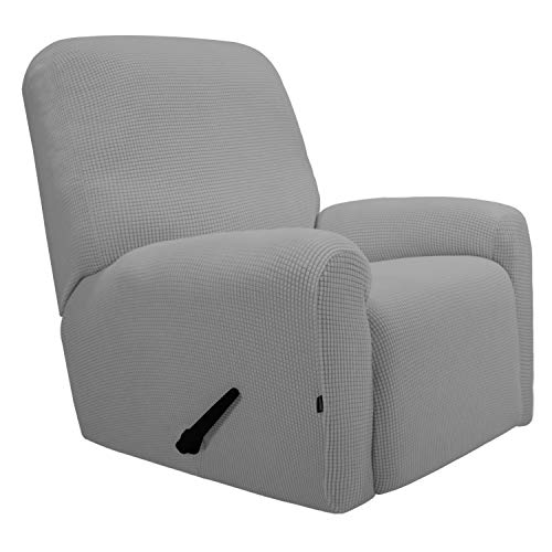 (Easy-Going Recliner Stretch Sofa Slipcover Sofa Cover 4-Pieces Furniture Protector Couch Soft with Elastic Bottom Kids,Polyester Spandex Jacquard Fabric Small Checks(Recliner,Light Gray))