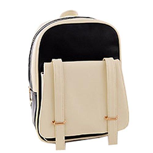 Top Shop Womens Leather Contrast Color Backpack Travel Daypack Tote School Bags Shoulder Black Satchels