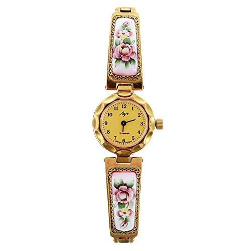 - Lady's Women Wrist Wind up Finift Floral Watch Bracelet/Purple/Titanium Nitride Case !!!