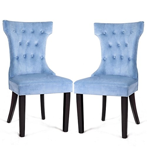 Giantex 2 Pcs Modern Dining Chair Button Tufted Upholstered Velvet Armless Chair Home Living Room Bedroom Leisure Chair w/Rubber Wood Legs Soft Padded Seat (Blue)