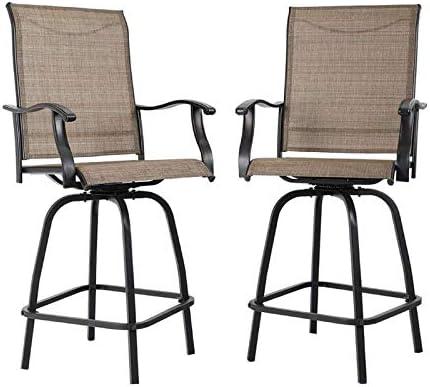 MFSTUDIO Outdoor Swivel Bar Stools Bar Height Patio Bistro Chairs