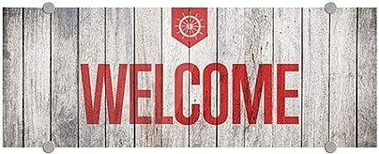 8x3 5-Pack Nautical Wood Premium Acrylic Sign CGSignLab Welcome