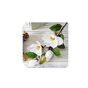 Luxury Long stem 4Heads Artificial Magnolia Flower Branch for Home Wedding Decoration Fake Flowers Garden Decor,White 1pcs 57