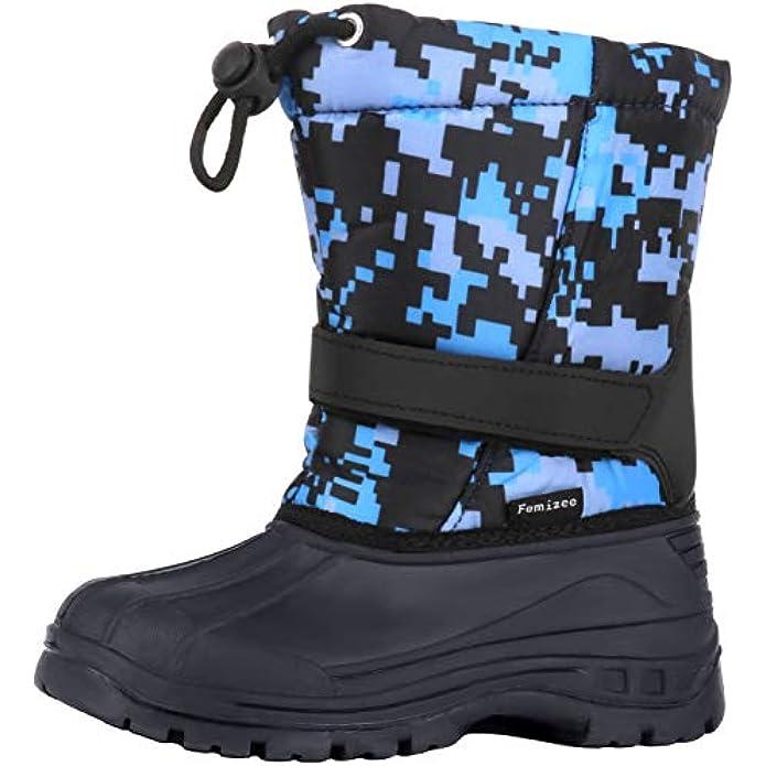 Femizee Girls Boys Warm Winter Boots Kids Outdoor Snow Boots(Toddler/Little Kid)