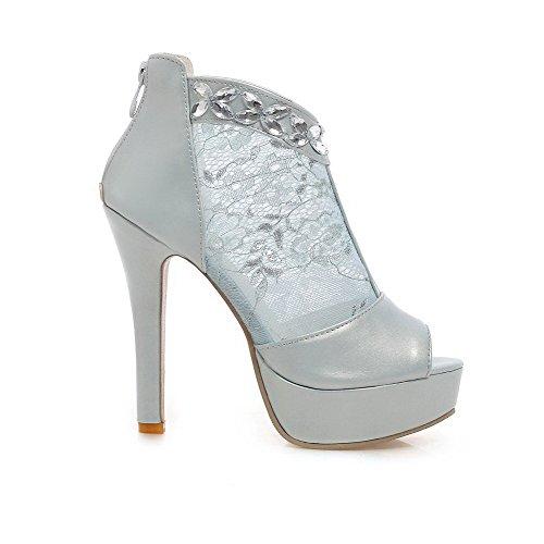 AgooLar Mujeres con Diamante de Imitación Peep Tacón de aguja Cremallera Tachonado Sandalia Azul