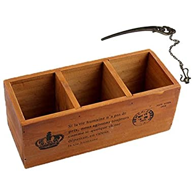 3 Compartment Vintage Wood Desktop Office Supply Caddy / Pen Pencil Holder / TV Remote control Holder/ Desk Organizer