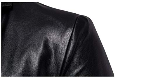 Jackets Collar Leather Solid Sleeved Faux Fit Slim Down Long Black MogogoMen Turn Iwv6qF1w