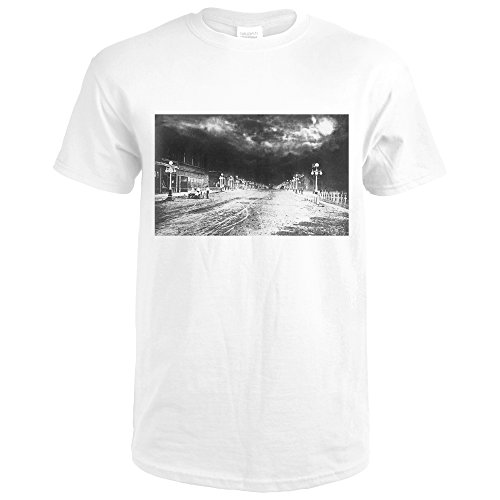 Miles City, Montana - Main Street View at Night (Premium White T-Shirt - City Main Street Park Shops