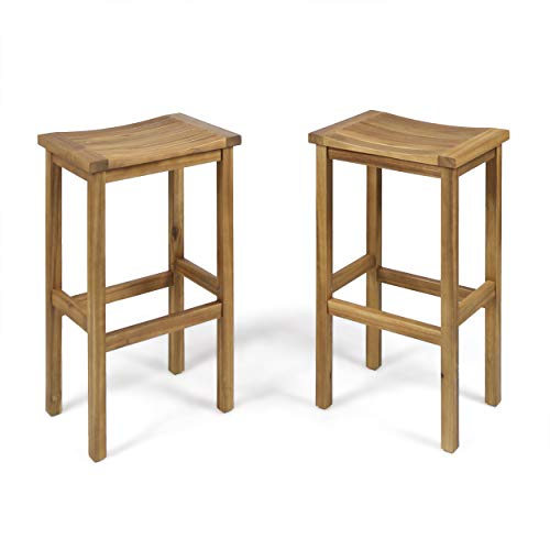 Christopher Knight Home 304142 Caribbean Outdoor 30 Natural Finish Acacia Wood Barstools Set of 2 , Stained