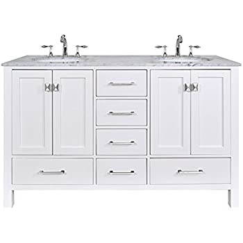 Stufurhome GM 6412 60PW CR 60 Inch Malibu Pure White Double Sink Bathroom  Vanity