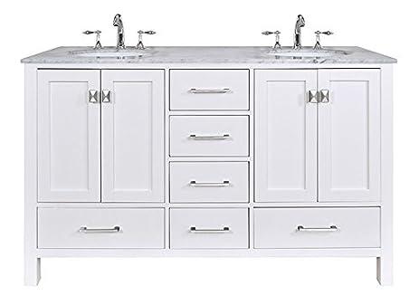 white double sink bathroom vanity. Stufurhome GM 6412 60PW CR 60 Inch Malibu Pure White Double Sink