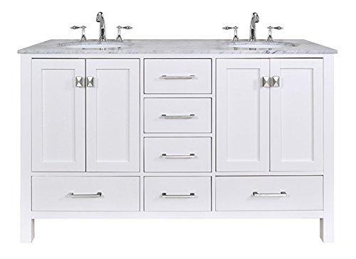 """California 60"""" Double Bathroom Vanity (Black/White) delicate"""
