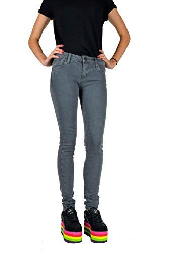 Kill City Women's Vintage Grey Punk Wash Stretchy Skinny Rocker Slim Twill Jeans (23) (Jean Twill Wash Vintage)