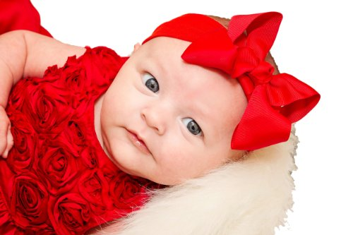 Grosgrain Bow Baby Headband By Funny Girl Designs Fits Newborn to 9 Months (Red)