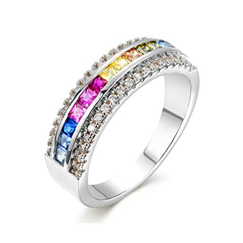 NYC Sterling Women's .925 Rainbow Cubic Zirconia 2mm Princess Semi Eternity Ring Band (Sterling-Silver, 6)