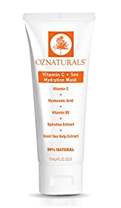 OZNaturals Vitamin C Facial Mask - Hydration Face Mask for Dry Skin with Hyaluronic Acid, Vitamin B5 and Sea Extracts Restores Radiance and Moisture to Deliver Younger Looking Skin