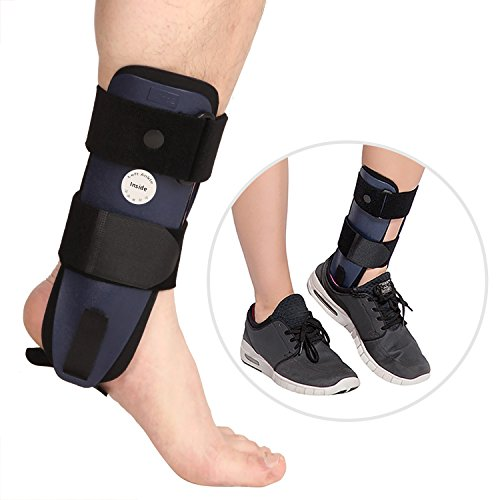 (Ankle Brace - with 3-Dimensional Molded Pads & Adjustable Ankle Stirrup Splint - Rigid Stabilizer for Sprains, Strains, Post-Op Cast Support and Injury Protection by Velpeau (Adults, Right Foot))