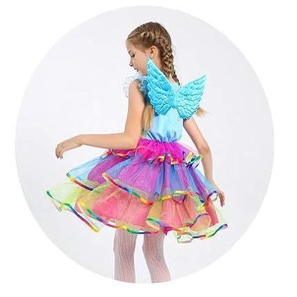 Kids Rainbow Unicorn Dress for Girls Cosplay Prom Costume Children Princess Lac