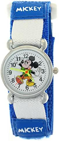 TimerMall Dark Blue Cartoon Mickey Analogue Quartz Nylon Velcro Kids Disney Character Watches