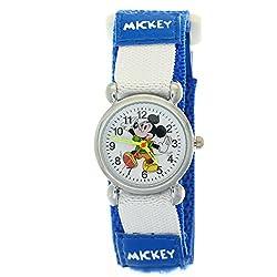 TimerMall Dark Blue Cartoon Mickey Analogue Quartz Nylon Velcro Kids Disney Character Watches