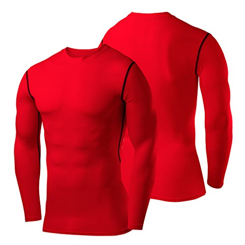 PowerLayer Men's Boys Compression Shirt Long Sleeve Base Layer Thermal Top - Red Medium by PowerLayer (Image #5)