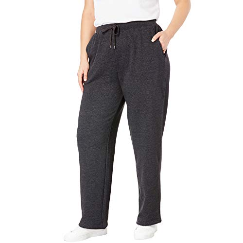 (Woman Within Women's Plus Size Petite Better Fleece Sweatpant - Heather Charcoal, 1X )